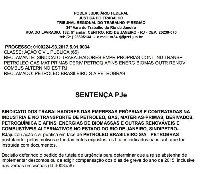 Justiça do Trabalho determina suspensão e ressarcimento de descontos da greve de 2015 na Petrobrás Despacho juiza