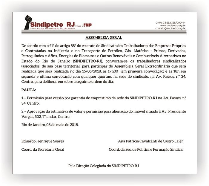 Situação financeira Sindipetro-RJ EDITAL DE CONVOCA    O edit