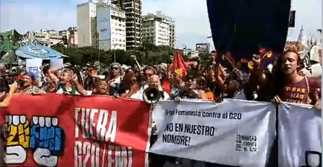 Acontece agora a Passeata contra o G20 e o FMI em Buenos Aires G20
