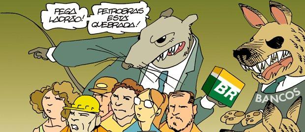 """Palestra dia 26: """"O mito da Petrobras quebrada"""" charge 670 1"""