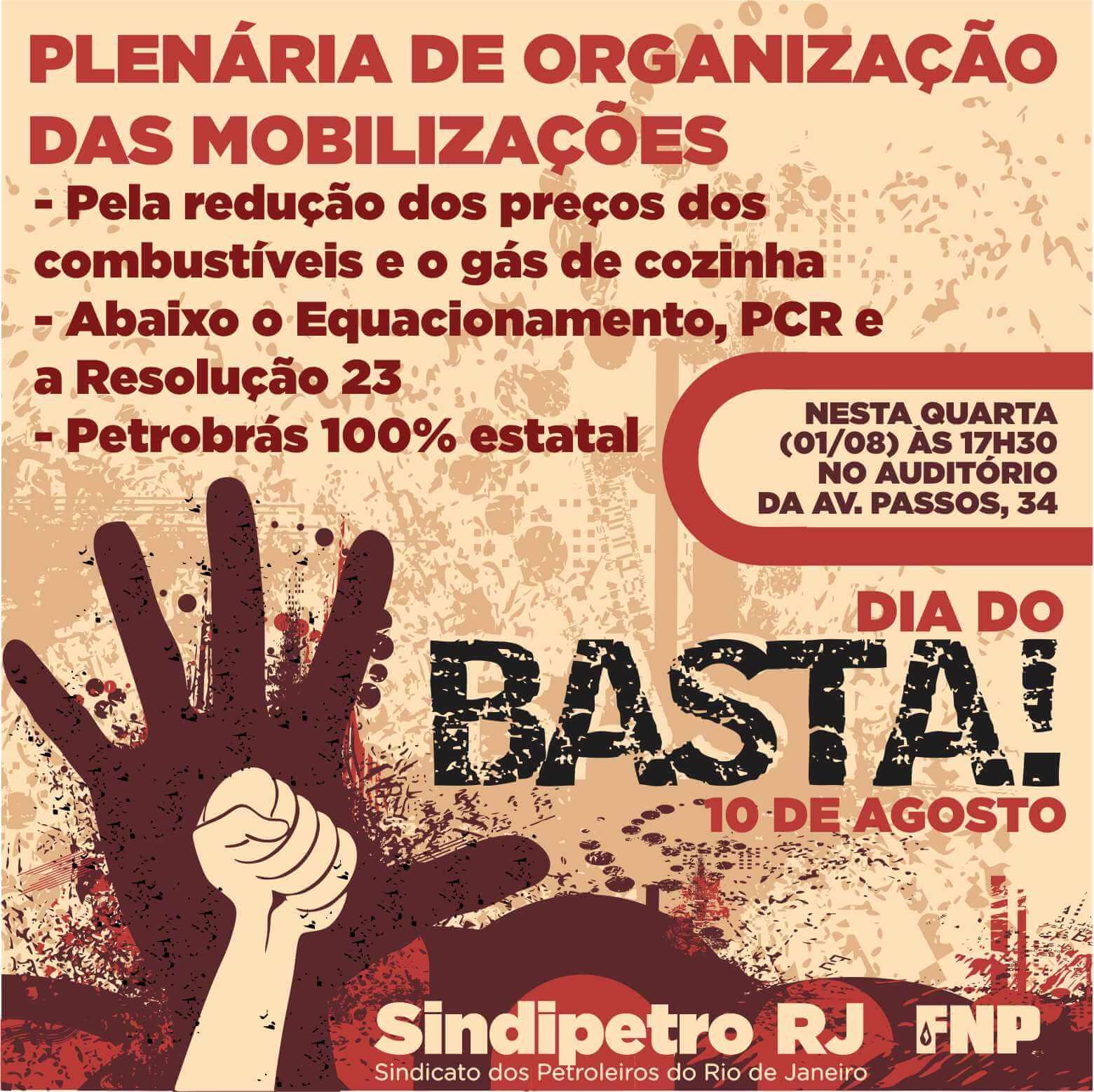 Sindicato realiza Colegiado Aberto e aprova participação no 'Dia do Basta' DIA DO BASTA